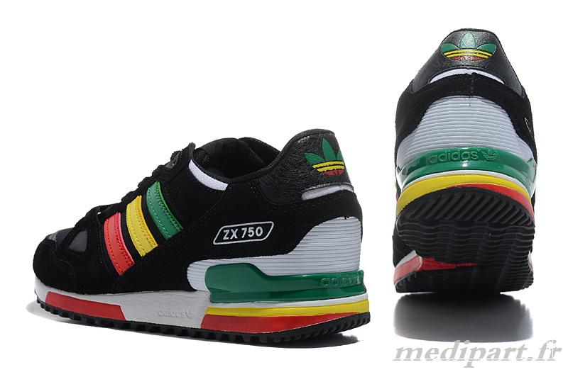 taille 40 3fb92 c86d8 adidas zx 750 vert jaune rouge